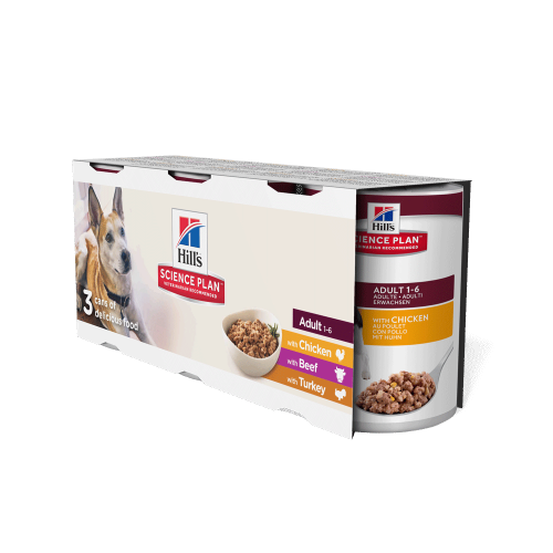 Hills Science Plan Trial Pack Adult Wet Dog Food Tins 370g x 3