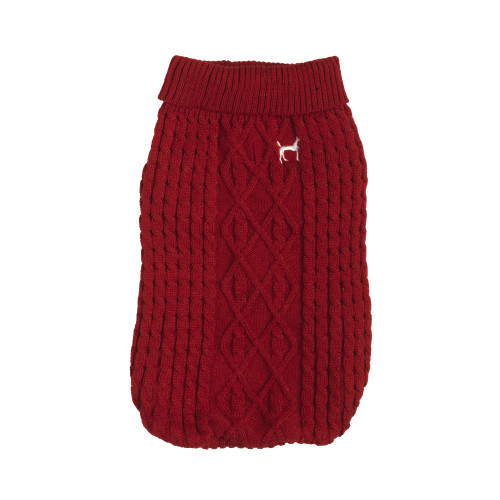 House of Paws Cable Knit Red Dog Jumper Extra Large