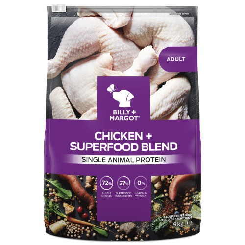 Billy & Margot Chicken & Superfood Blend Dry Adult Dog Food 9kg