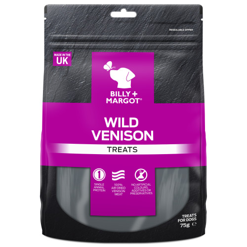 Billy & Margot Wild Venison Dog Treats 75g x 6 SAVER PACK