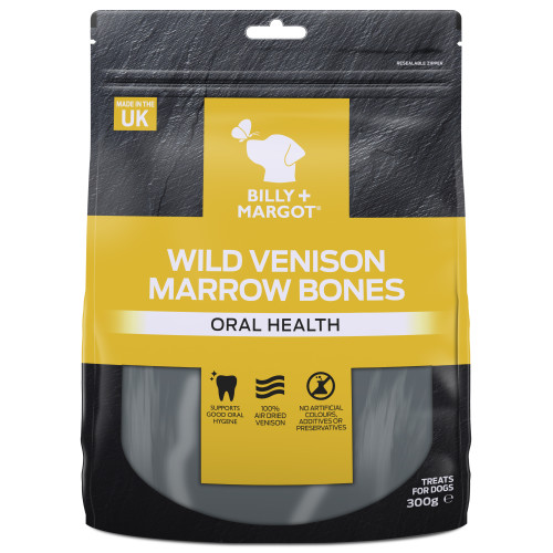 Billy & Margot Wild Venison Marrow Bones Dog Treats 300g x 2 Multipack