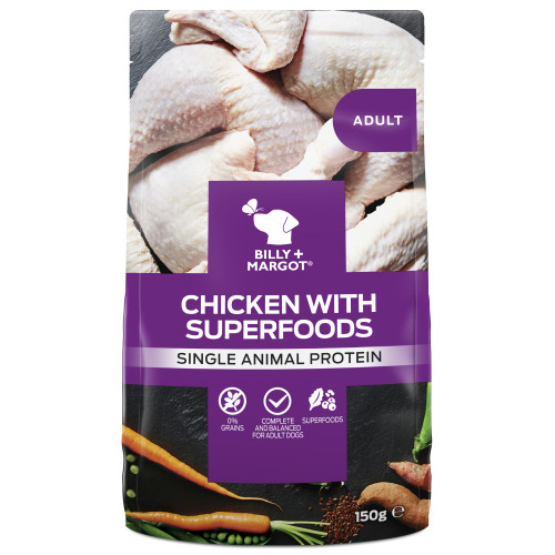Billy & Margot Chicken and Superfood Wet Dog Food Pouches 150g x 12