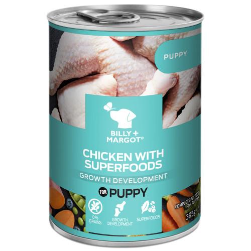 Billy & Margot Chicken with Superfoods Wet Puppy Food Tins 395g x 24
