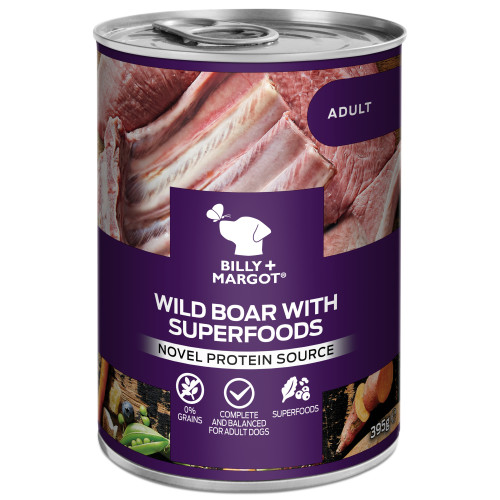 Billy & Margot Wild Boar with Superfoods Wet Adult Dog Food Tins 395g x 24