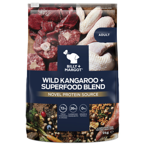 Billy & Margot Wild Kangaroo and Superfood Blend Dry Adult Dog Food 9kg x 2