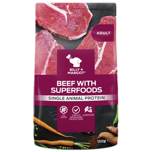 Billy & Margot Beef & Superfood Wet Dog Food Pouches 150g x 24