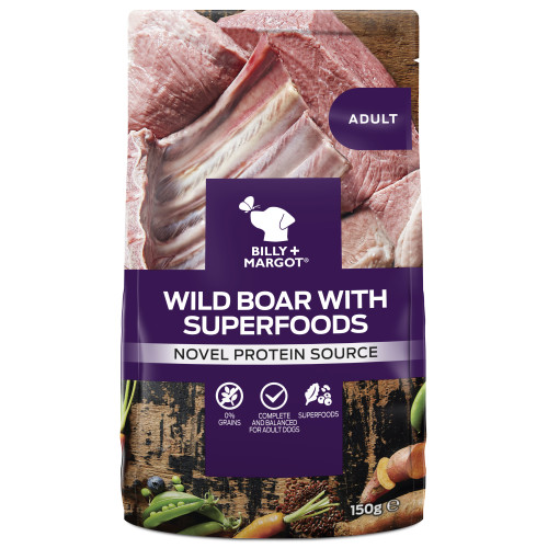Billy & Margot Wild Boar & Superfood Wet Dog Food Pouches 150g x 12
