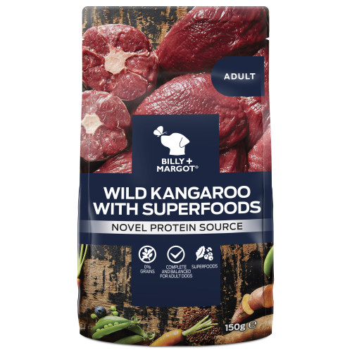 Billy & Margot Wild Kangaroo & Superfood Wet Dog Food Pouches 150g x 12
