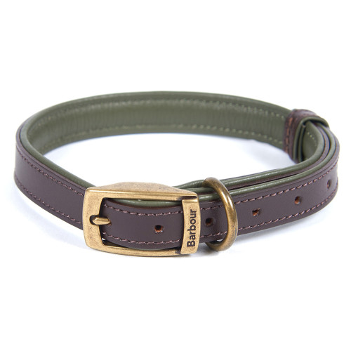 Barbour Padded Leather Dog Collar in Brown & Olive Medium