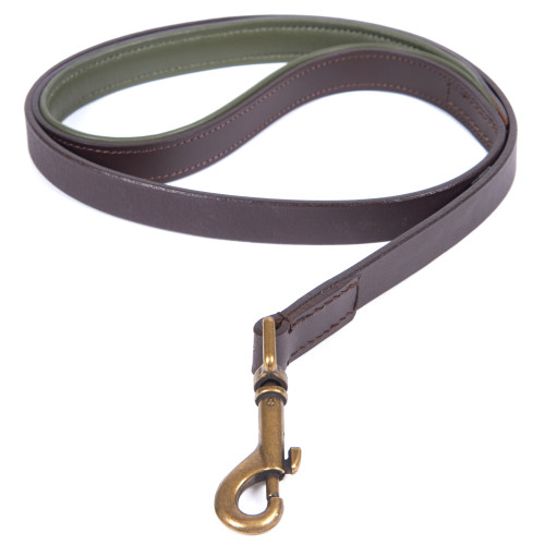 Barbour Leather Dog Lead in Brown & Olive 1 Metre