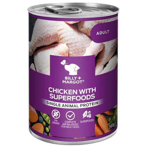 Billy & Margot Chicken with Superfoods Wet Adult Dog Food Tins 395g x 24