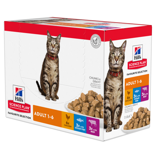 Hills Science Plan Adult Multipack Pouches Wet Cat Food Chicken, Beef & Ocean Fish 85g x 12