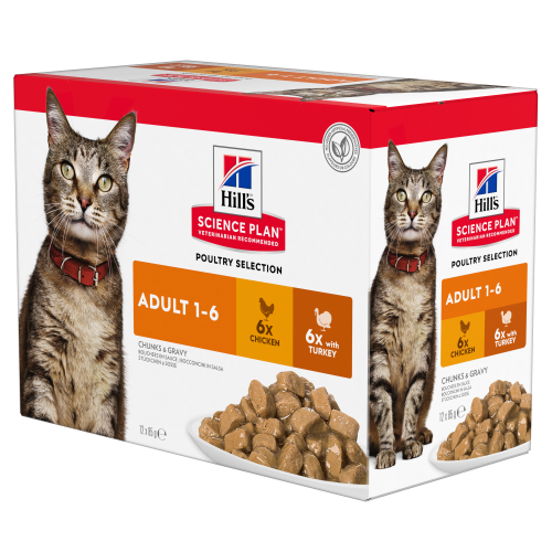 Hills Science Plan Adult Multipack Pouches Wet Cat Food Trial Pack 85g x 4