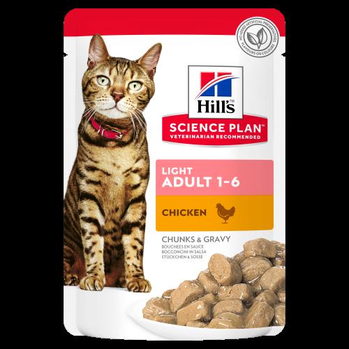 Hills Science Plan Adult Light Pouches Wet Cat Food Chicken 85g x 60