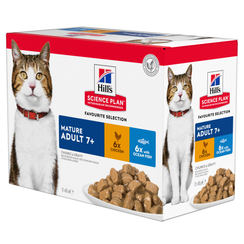 Hills Science Plan Mature 7+ Pouches Wet Cat Food Chicken & Ocean Fish Multipack 85g x 12