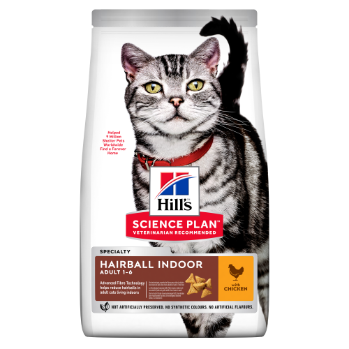 Hills Science Plan Adult Hairball & Indoor Dry Cat Food Chicken 3kg