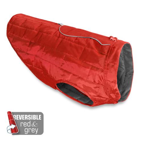 Kurgo Reversible Loft Dog Coat in Red & Grey Large
