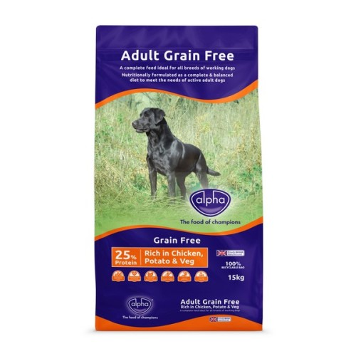 Alpha Grain Free Working Dog Chicken Dry Adult Dog Food 15kg x 2