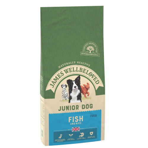 James Wellbeloved Fish & Rice Junior Dog Food 15kg x 2
