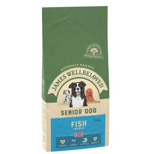 James Wellbeloved Fish & Rice Senior Dog Food 15kg x 2