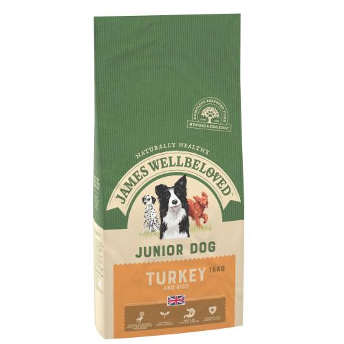 James Wellbeloved Turkey & Rice Junior Dog Food 15kg x 2