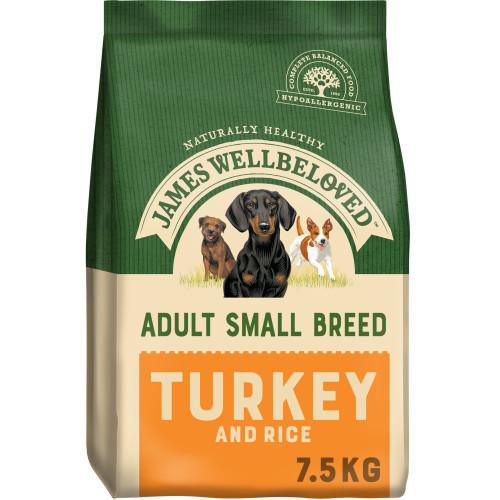 James Wellbeloved Turkey & Rice Adult Small Breed Dog Food 7.5kg