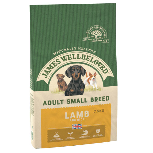 James Wellbeloved Lamb & Rice Adult Small Breed Dog Food 7.5kg x 2