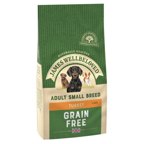 James Wellbeloved Grain Free Turkey & Vegetable Small Breed Adult Dog Food 7.5kg