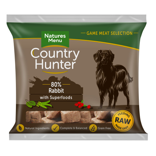 Natures Menu Country Hunter Complete Rabbit Nuggets Raw Frozen Dog Food 1kg