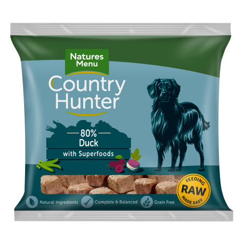 Natures Menu Country Hunter Complete Duck Nuggets Raw Frozen Dog Food 1kg