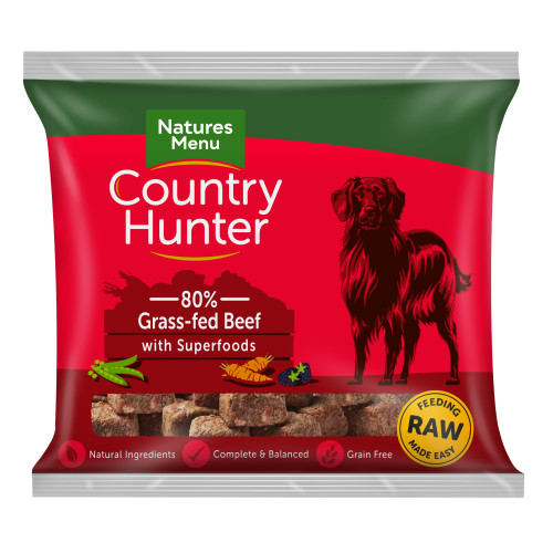 Natures Menu Country Hunter Complete Grass Fed Beef Nuggets Raw Frozen Dog Food 1kg