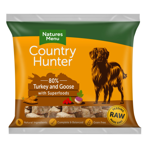 Natures Menu Country Hunter Complete Turkey & Goose Nuggets Raw Frozen Dog Food 1kg