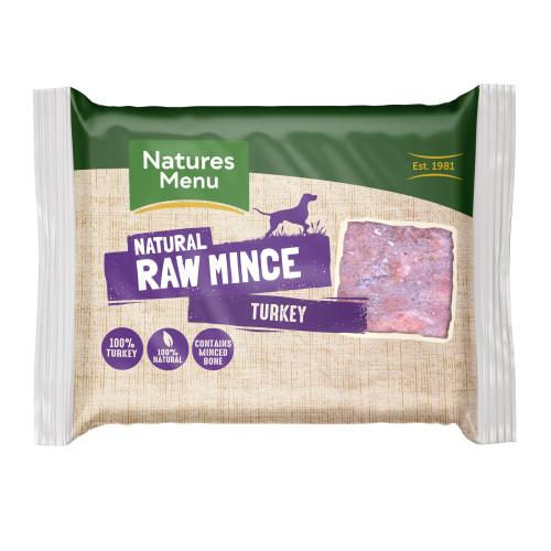 Natures Menu Minced Turkey Raw Frozen Dog Food 400g x 12