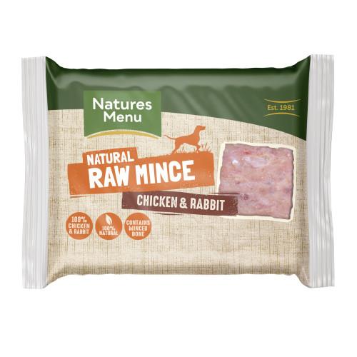 Natures Menu Minced Chicken & Rabbit Raw Frozen Dog Food 400g x 12