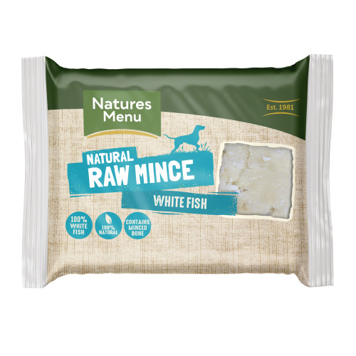 Natures Menu Minced White Fish Raw Frozen Dog Food 400g x 12