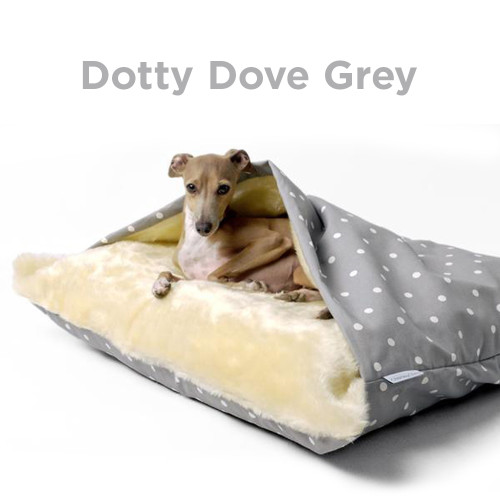 Charley Chau Luxury Cotton Snuggle Dog Bed Dotty Dove Grey Large