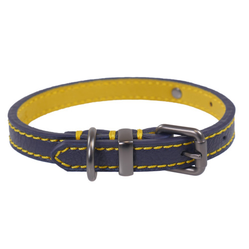 Joules Navy Leather Dog Lead Collar - Large