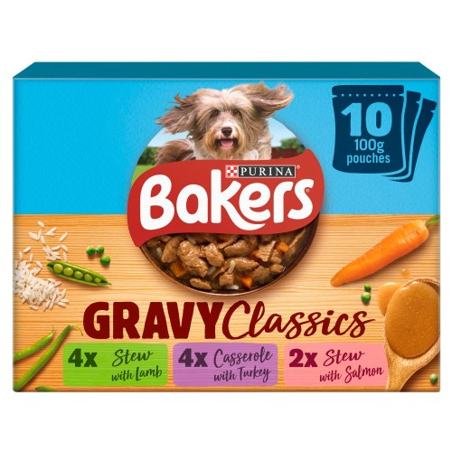 Bakers Home Classics Lamb, Turkey & Salmon Adult Dog Pouches 100g x 10