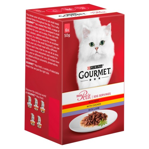 Gourmet Mon Petit Meat Pouches Adult Cat Food 50g x 6