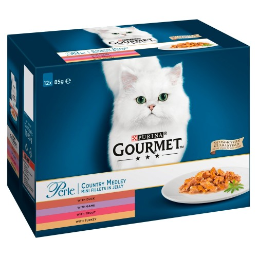Gourmet Perle Country Medley in Jelly Adult Cat Food 85g x 48