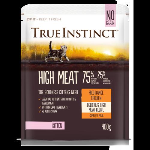 True Instinct High Meat Chicken Dry Kitten Food 400g