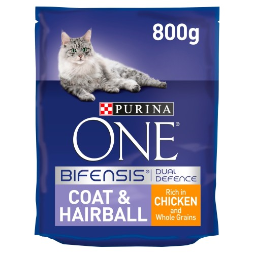 Purina ONE Chicken & Wheat Coat & Hairball Adult Cat Food 800g x 8