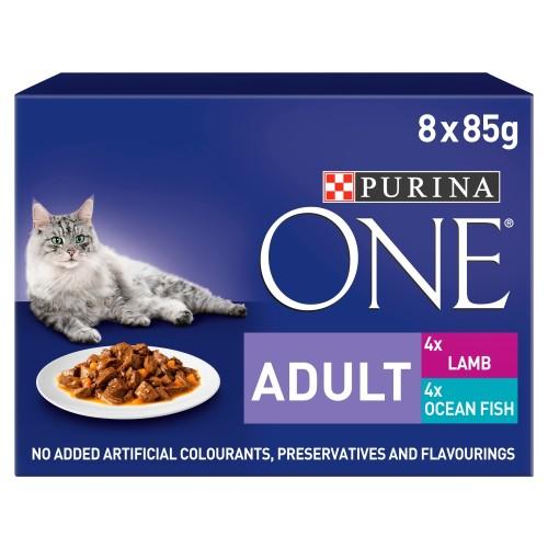 Purina ONE Ocean Fish & Lamb Mini Fillets In Gravy Adult Cat Food 85g x 8