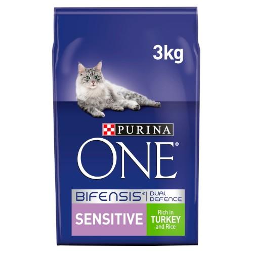 Purina ONE Turkey & Rice Sensitive Adult Cat Food 3kg