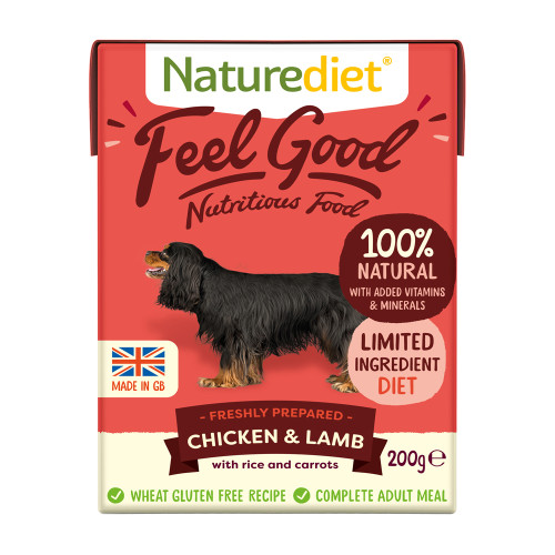 Naturediet Feel Good Chicken & Lamb Wet Adult Dog Food Cartons 200g x 8 Starter Pack