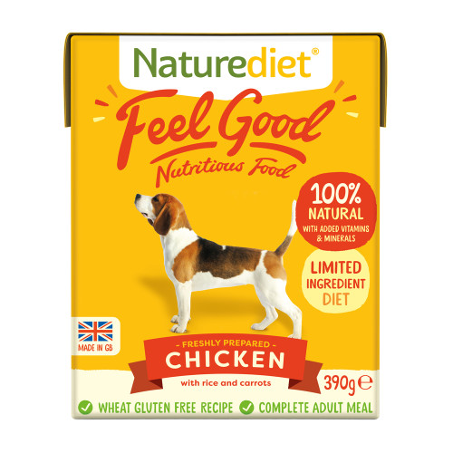 Naturediet Feel Good Chicken Wet Adult Dog Food Cartons 390g x 18 Feel Good