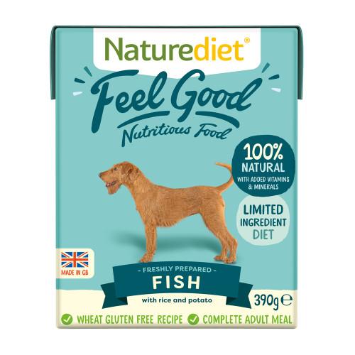 Naturediet Feel Good Fish Adult Wet Dog Food Cartons 390g x 72 Feel Good