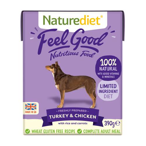 Naturediet Feel Good Turkey & Chicken Wet Adult Dog Food Cartons 390g x 18 Feel Good