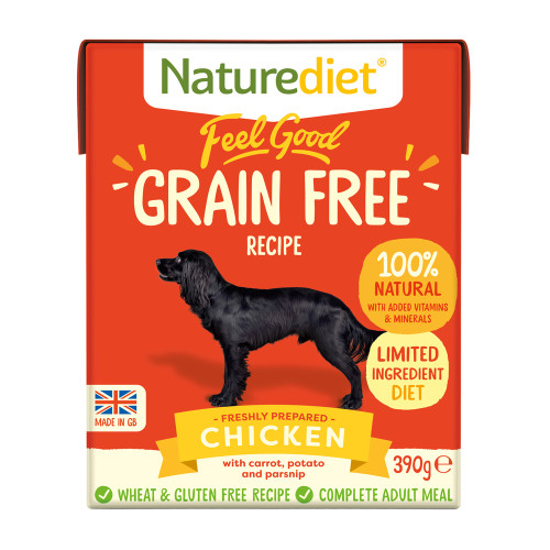Naturediet Feel Good Grain Free Chicken Wet Adult Dog Food Cartons 390g x 36 Feel Good