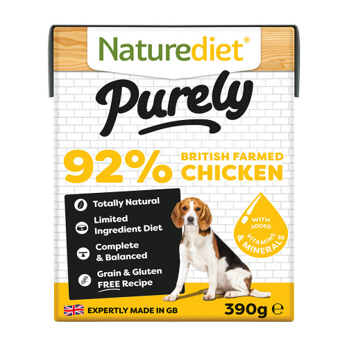 Naturediet Purely British Farmed Chicken Wet Adult Dog Food Cartons 390g x 18
